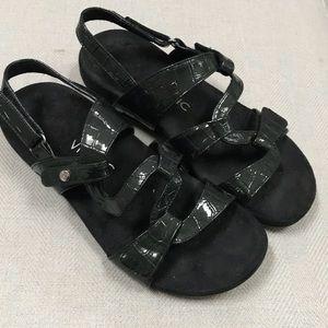 Vionic Paros Black Patent Leather Sandals